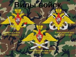Виды войск Сухопутные войска 300 000 человек Военно-морской флот 133 000 чело