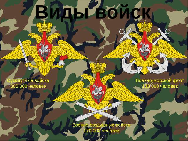 Виды войск Сухопутные войска 300 000 человек Военно-морской флот 133 000 чело...