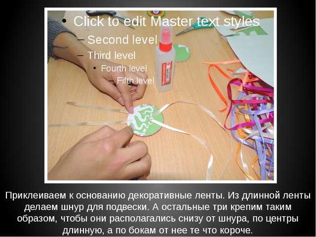 Приклеиваем к основанию декоративные ленты. Из длинной ленты делаем шнур для...