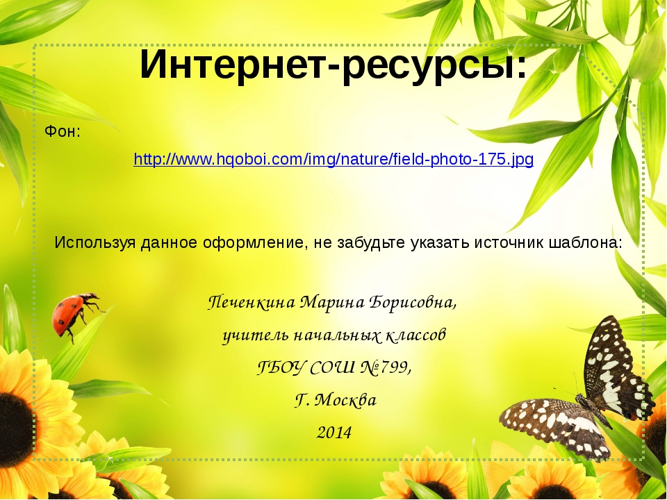 Интернет-ресурсы: Фон: http://www.hqoboi.com/img/nature/field-photo-175.jpg И...