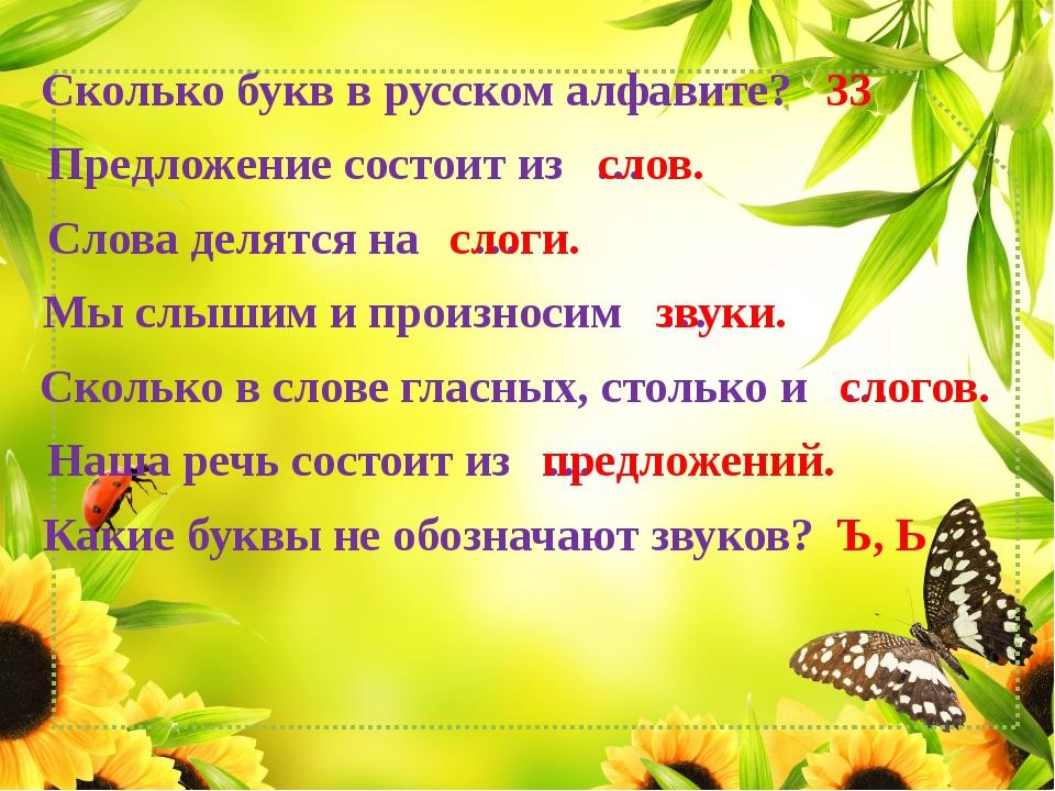 Сколько букв в русском алфавите? Предложение состоит из Слова делятся на Мы с...