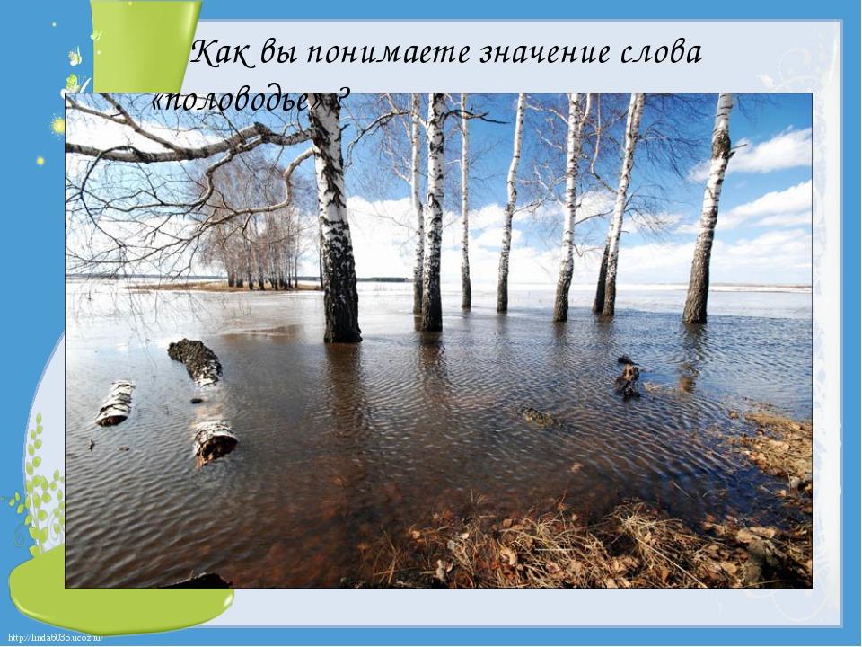 Как вы понимаете значение слова «половодье» ? http://linda6035.ucoz.ru/