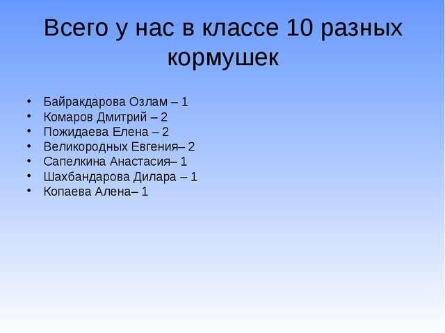 Всего у нас в классе 10 разных кормушек Байракдарова Озлам – 1 Комаров Дмитри...