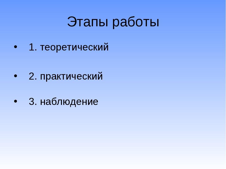 Этапы работы 1. теоретический 2. практический 3. наблюдение