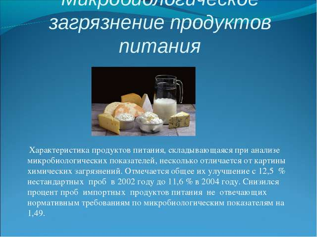Микробиологическое загрязнение продуктов питания Характеристика продуктов п...