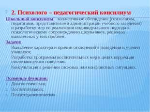 2. Психолого – педагогический консилиум Школьный консилиум – коллективное обс