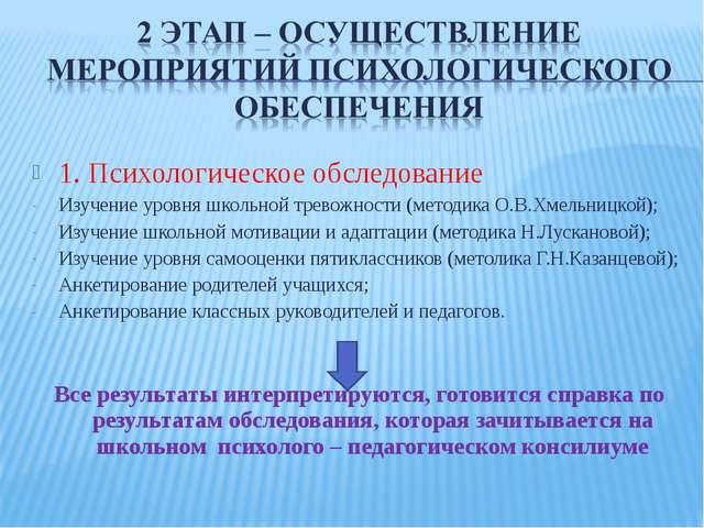 1. Психологическое обследование Изучение уровня школьной тревожности (методик...