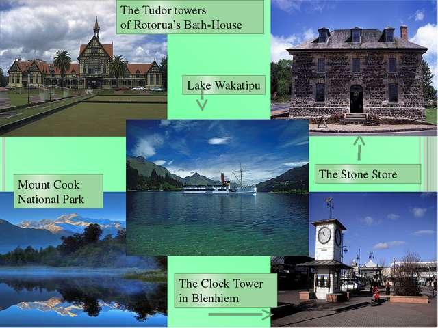 The Tudor towers of Rotorua's Bath-House The Stone Store The Clock Tower in B...