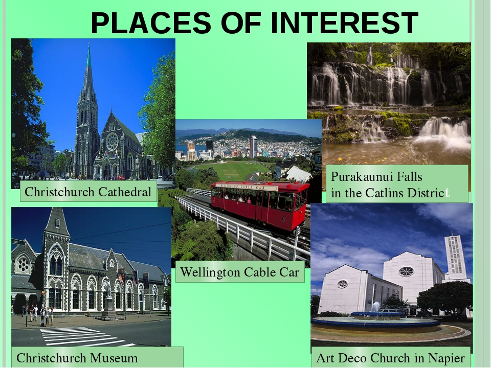 PLACES OF INTEREST Christchurch Cathedral Purakaunui Falls in the Catlins Dis...