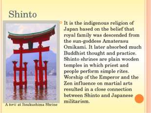 """Shinto shows that everything has a kami (""""spiritual essence"""" which is sometim"""