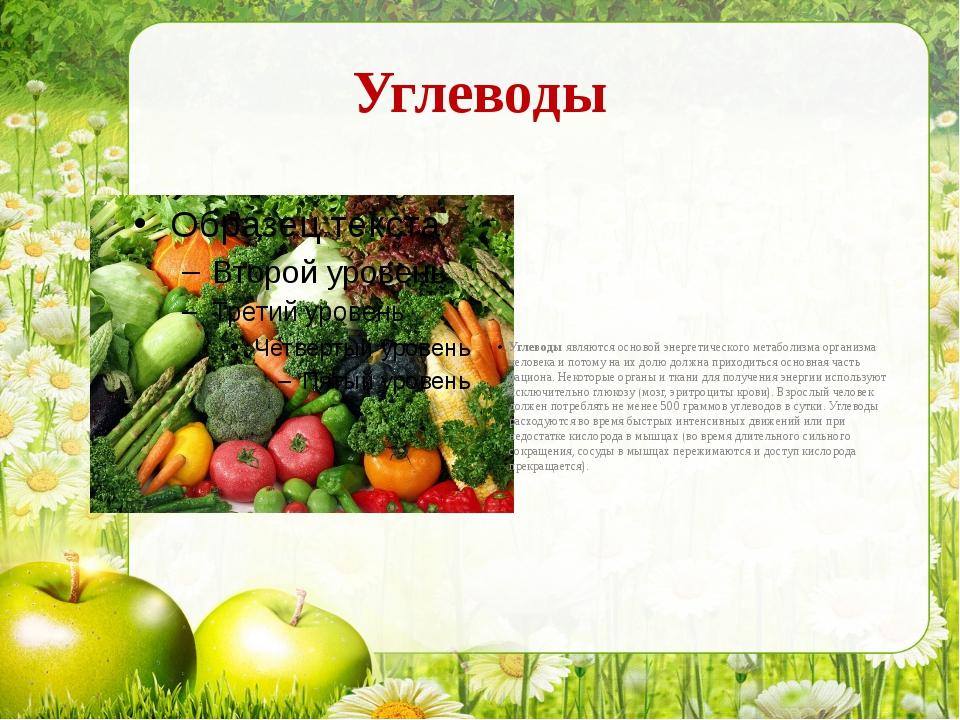 Углеводы Углеводы являются основой энергетического метаболизма организма чело...