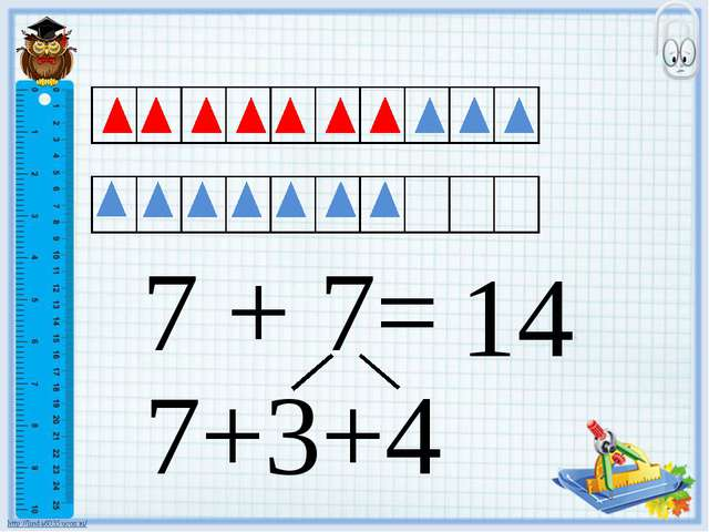 7 + 7= 14 7+3+4