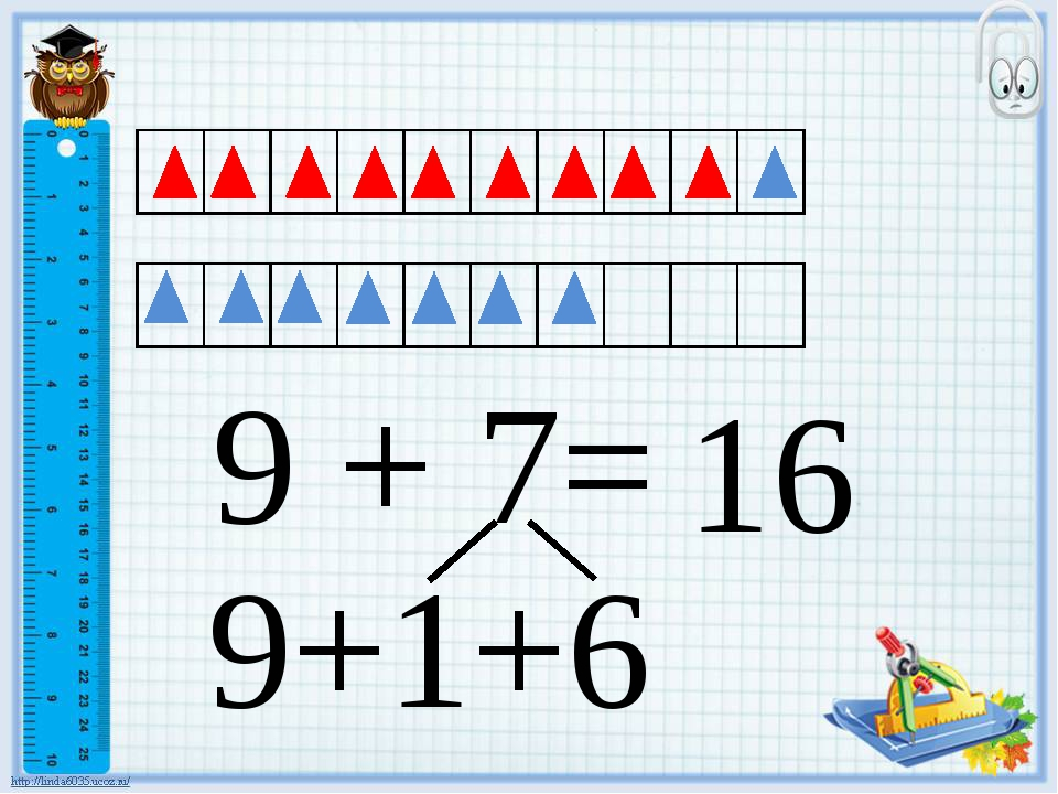 9 + 7= 16 9+1+6
