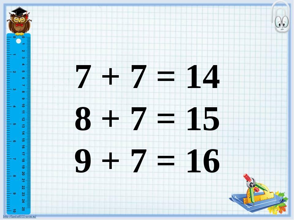 7 + 7 = 14 8 + 7 = 15 9 + 7 = 16