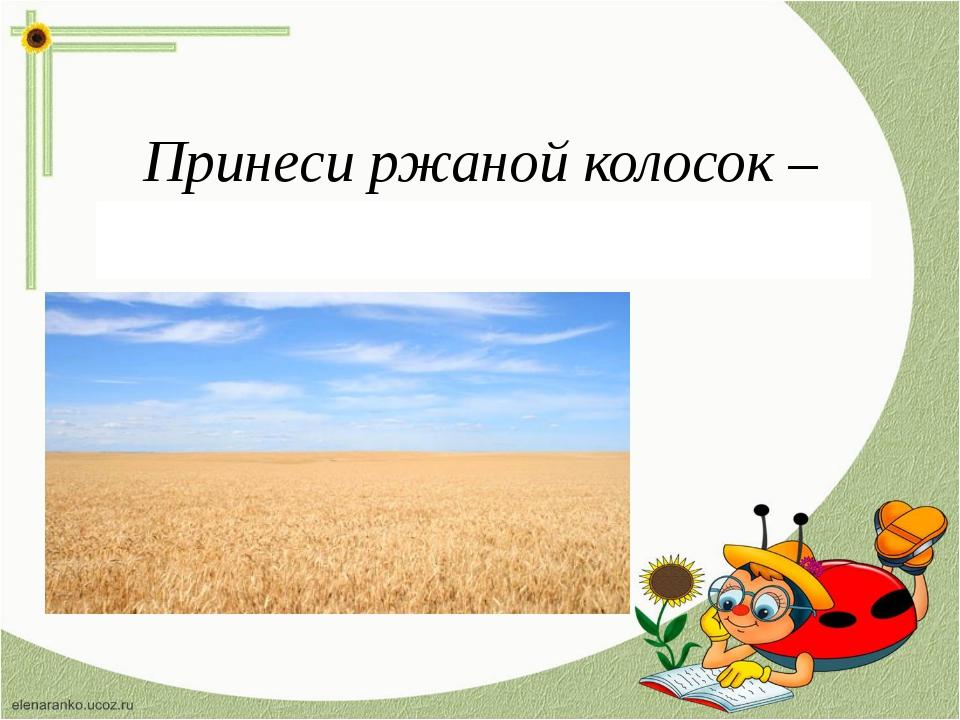 Принеси ржаной колосок – просьба дать богатый урожай.