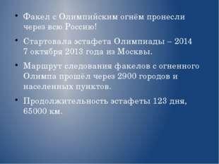 Факел с Олимпийским огнём пронесли через всю Россию! Стартовала эстафета Олим