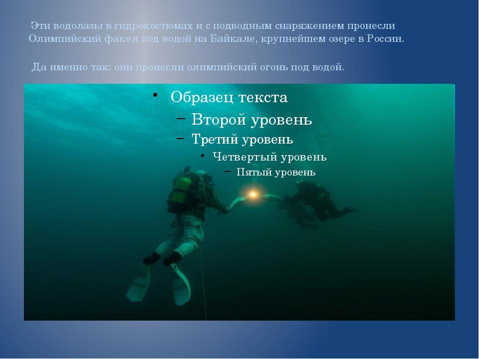 Эти водолазы в гидрокостюмах и с подводным снаряжением пронесли Олимпийский...