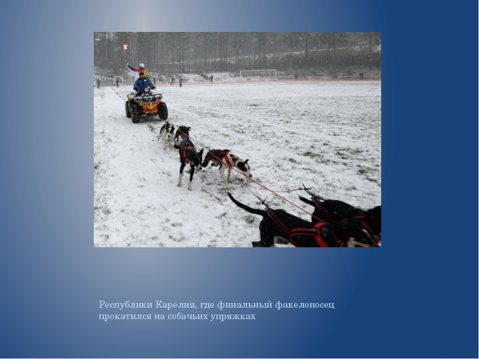Республики Карелия, где финальный факелоносец прокатился на собачьих упряжках