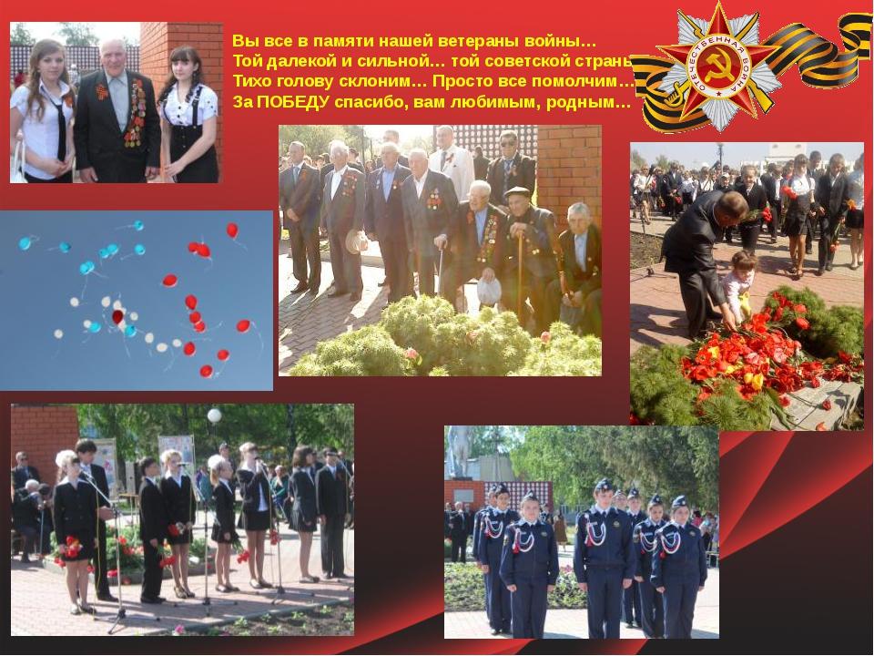 Вы все в памяти нашей ветераны войны… Той далекой и сильной… той советской с...