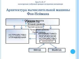Архитектура вычислительной машины Фон-Неймана Урок № 26-27 магистрально модул