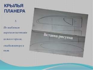 КРЫЛЬЯ ПЛАНЕРА 5. По шаблонам вырезаем заготовки цельного крыла, стабилизатор