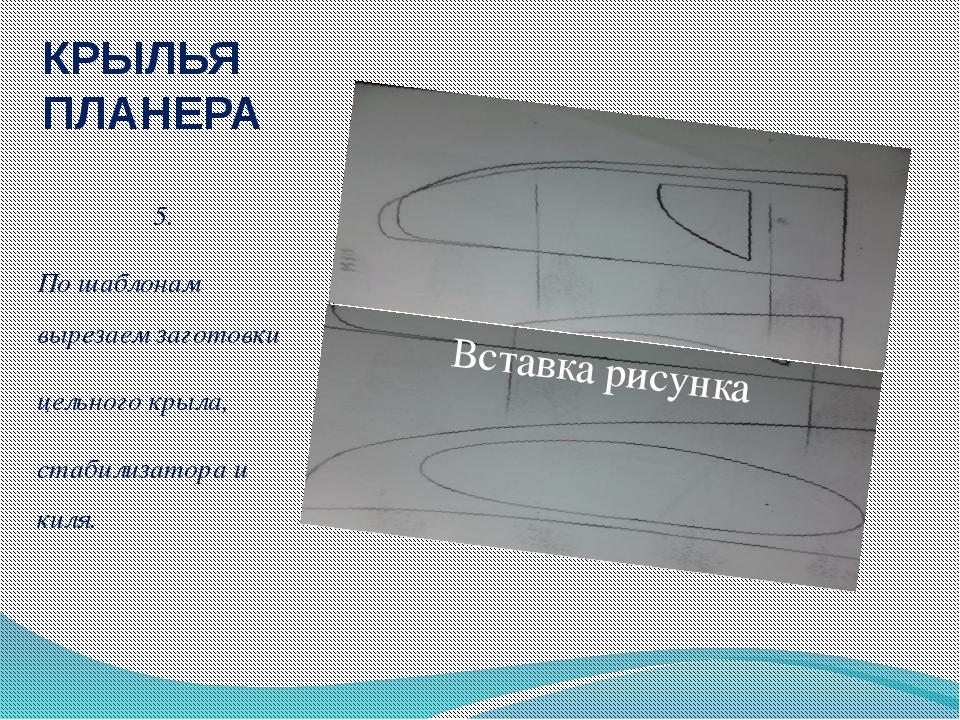 КРЫЛЬЯ ПЛАНЕРА 5. По шаблонам вырезаем заготовки цельного крыла, стабилизатор...