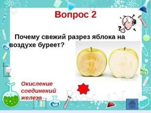 Вопрос 2 Почему свежий разрез яблока на воздухе буреет? Окисление соединений