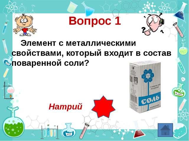 Вопрос 1 Элемент с металлическими свойствами, который входит в состав поварен...