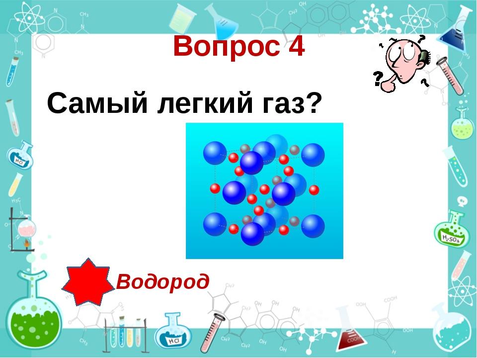 Вопрос 4 Самый легкий газ? Водород