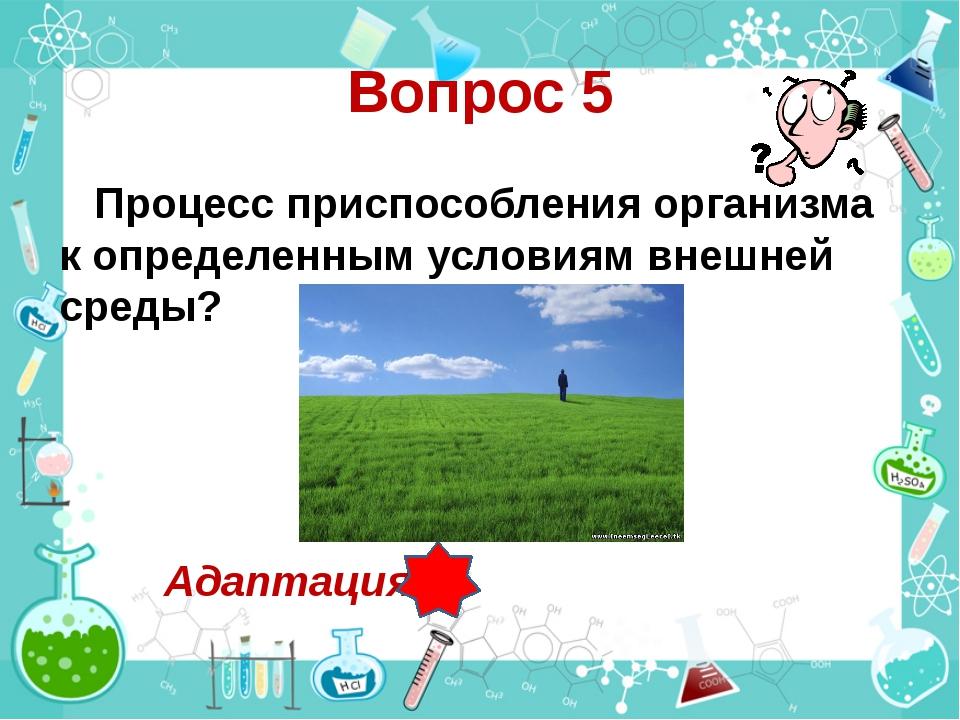 Вопрос 5 Процесс приспособления организма к определенным условиям внешней сре...