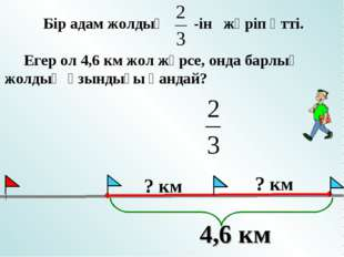 Бір адам жолдың -ін жүріп өтті. Егер ол 4,6 км жол жүрсе, онда барлық жолдың