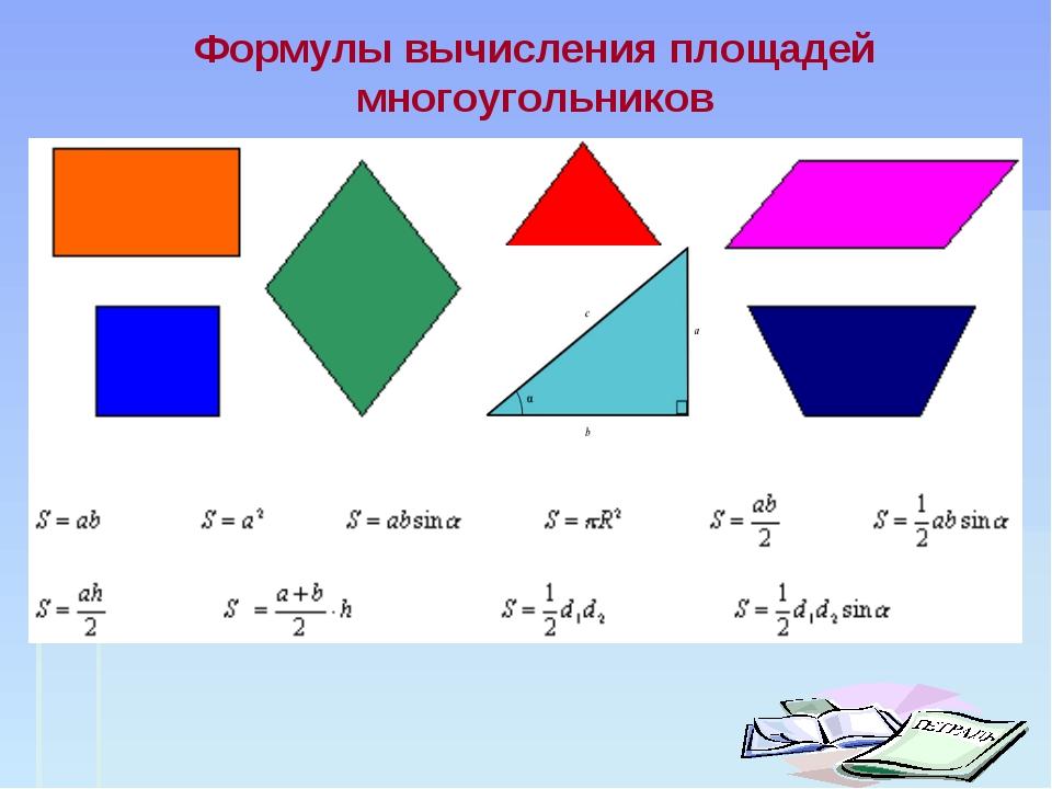 Формулы вычисления площадей многоугольников