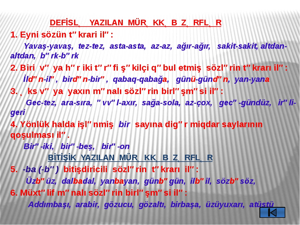 ZƏRFİN MƏNACA NÖVLƏRİ 1. Tərzi-hərəkət zərfləri 2. Zaman zərfləri 3. Yer zər...