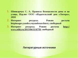 Литературные источники Шинкарчук С. А. Правила безопасности дома и на улице,