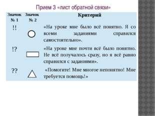 Прием 3 «лист обратной связи» Значок № 1 Значок № 2 Критерий !! «На уроке мне