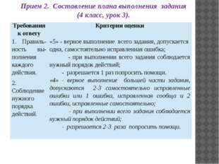 Прием 2. Составление плана выполнения задания (4 класс, урок 3). Требования к