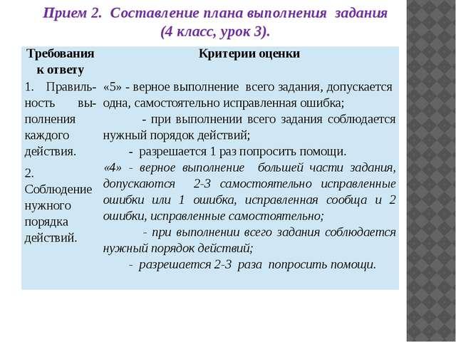 Прием 2. Составление плана выполнения задания (4 класс, урок 3). Требования к...