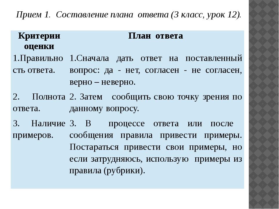 Прием 2. Составление плана выполнения задания (4 класс, урок 3). План поиска...