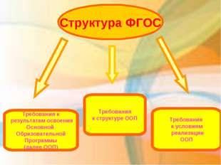 Структура ФГОС  Требования к результатам освоения Основной Образовательной