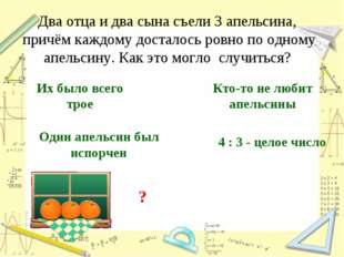 Два отца и два сына съели 3 апельсина, причём каждому досталось ровно по одно