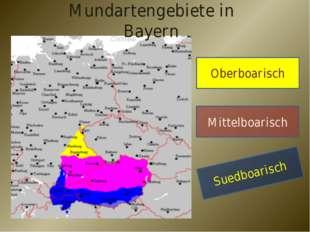 Mundartengebiete in Bayern Oberboarisch Mittelboarisch Suedboarisch