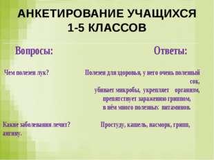 АНКЕТИРОВАНИЕ УЧАЩИХСЯ 1-5 КЛАССОВ