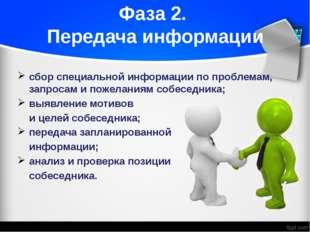 Фаза 2. Передача информации сбор специальной информации по проблемам, запроса