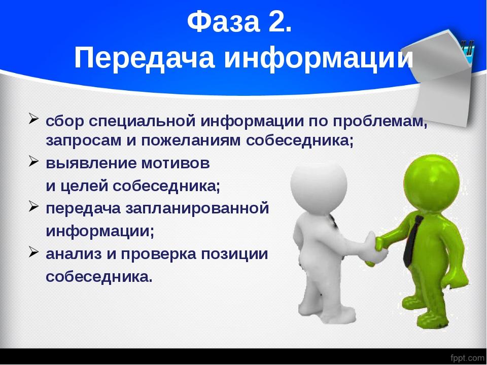 Фаза 2. Передача информации сбор специальной информации по проблемам, запроса...
