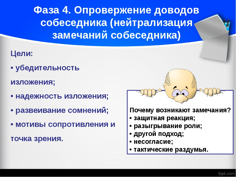 Фаза 4. Опровержение доводов собеседника (нейтрализация замечаний собеседника...