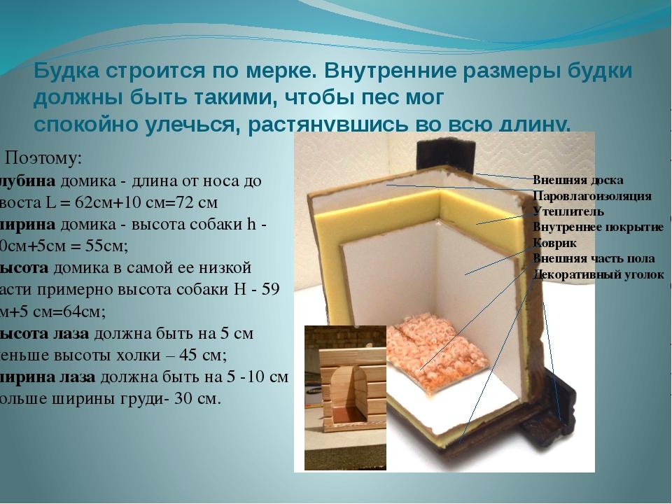 Будка строится по мерке. Внутренние размеры будки должны быть такими, чтобы п...