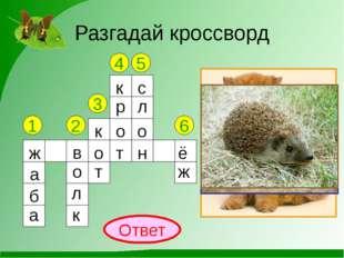 Разгадай кроссворд 1 2 3 4 5 6 Ответ ж а б а в о л к к о т к р о т с л о н ё ж