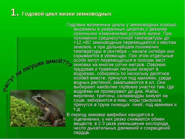 1. Годовой цикл жизни земноводных Годовые жизненные циклы у земноводных хорош...