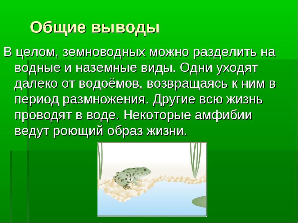 Общие выводы В целом, земноводных можно разделить на водные и наземные виды....