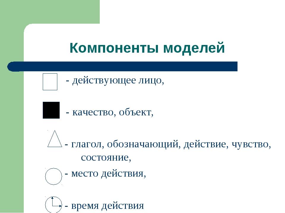 Компоненты моделей - действующее лицо, - качество, объект, - глагол, обознача...